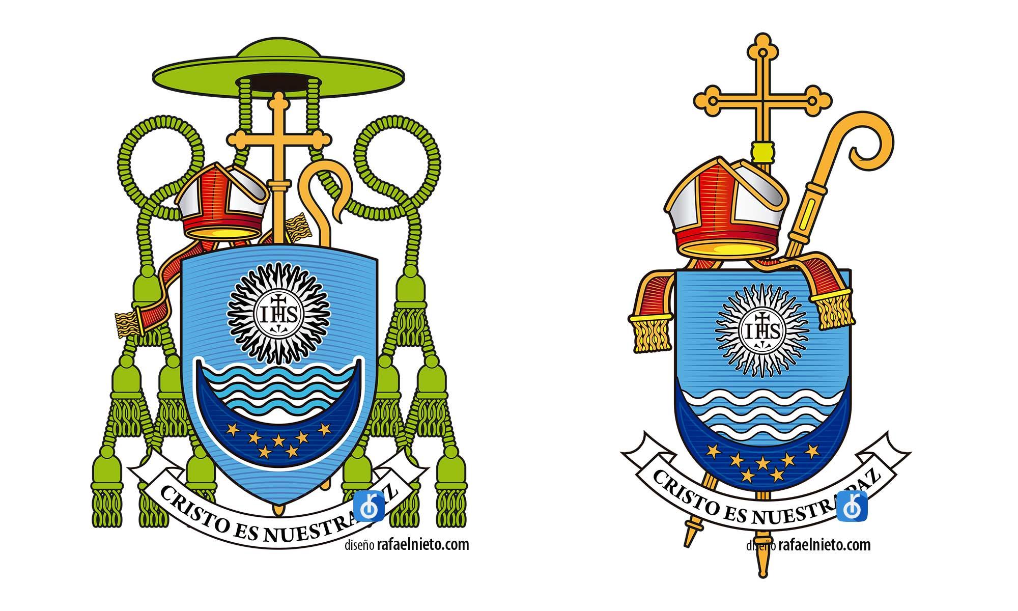 Escudo obispo. Trabajo realizado para monseñor Fernando Miguel Gil, obispo de Salto, Uruguay. Es un regalo que le hace un amigo para su ordenación episcopa